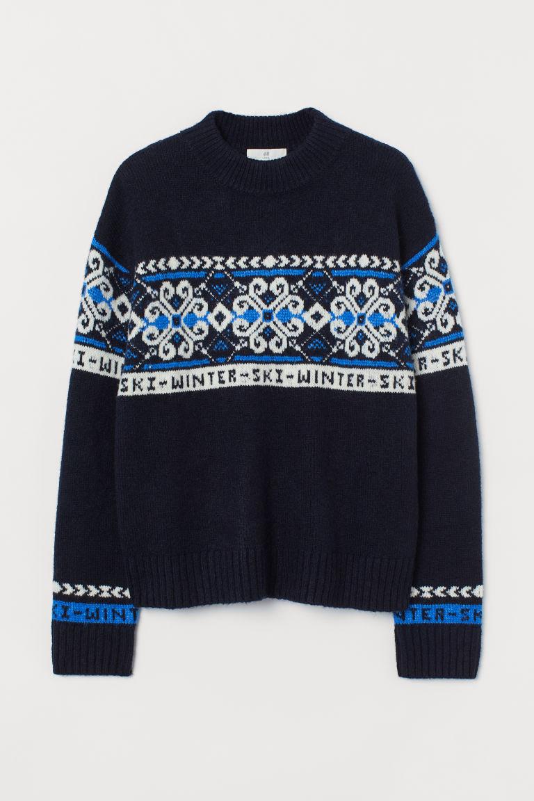 H & M - 提花針織套衫 - 藍色