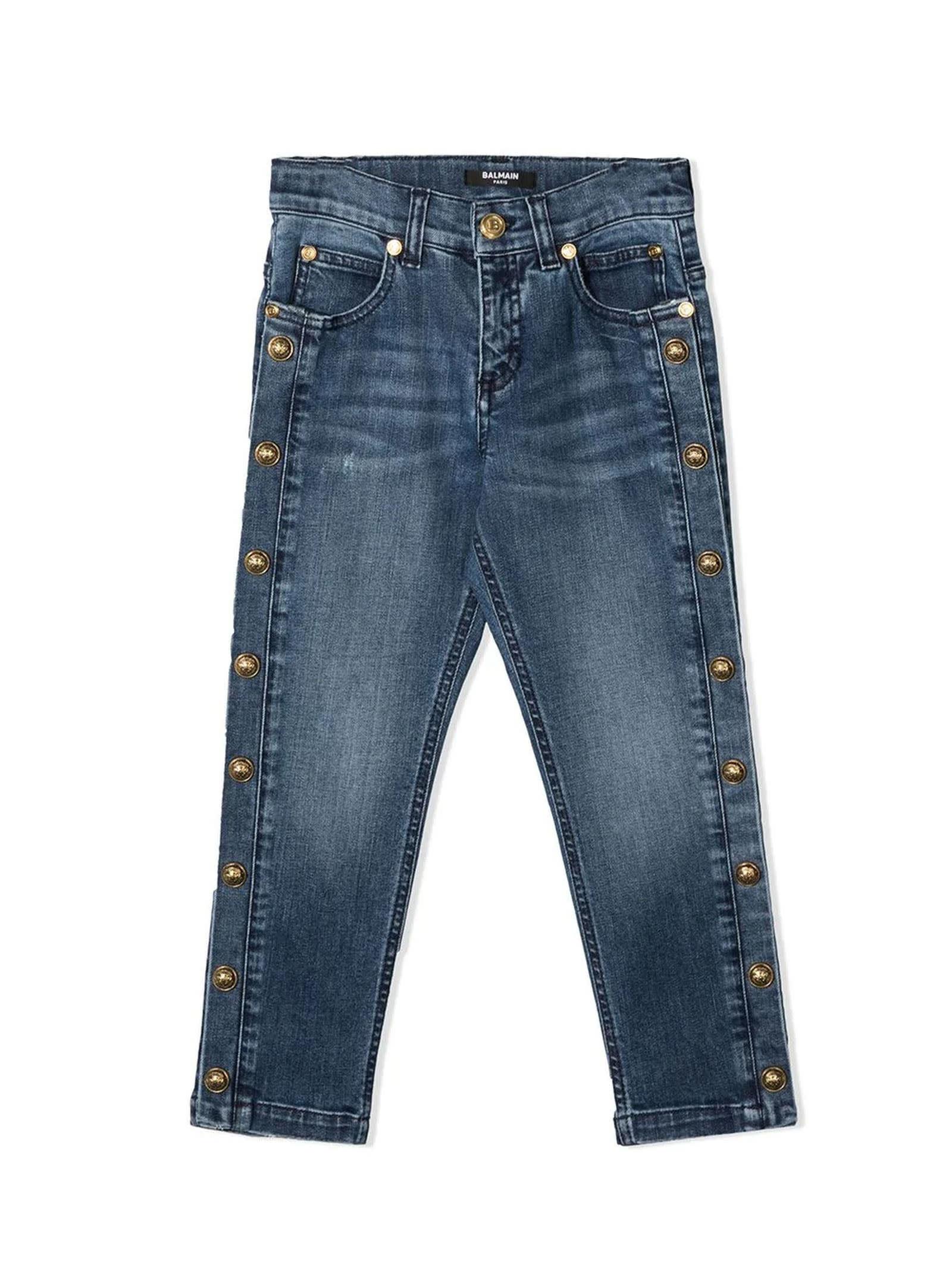 Balmain Blue Cotton Jeans