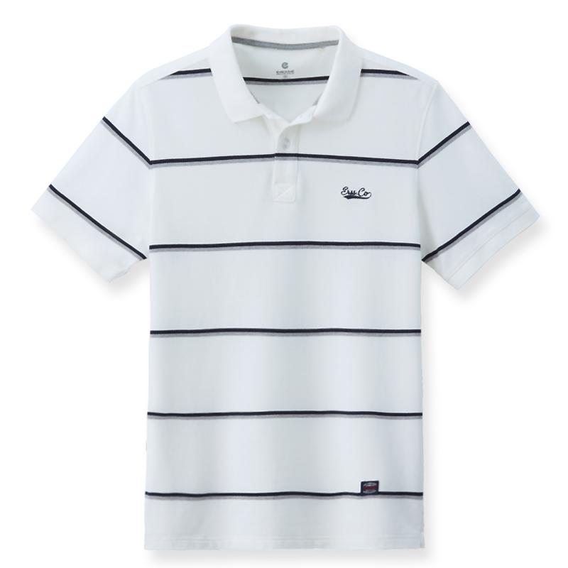 細條紋POLO衫(白色)-男
