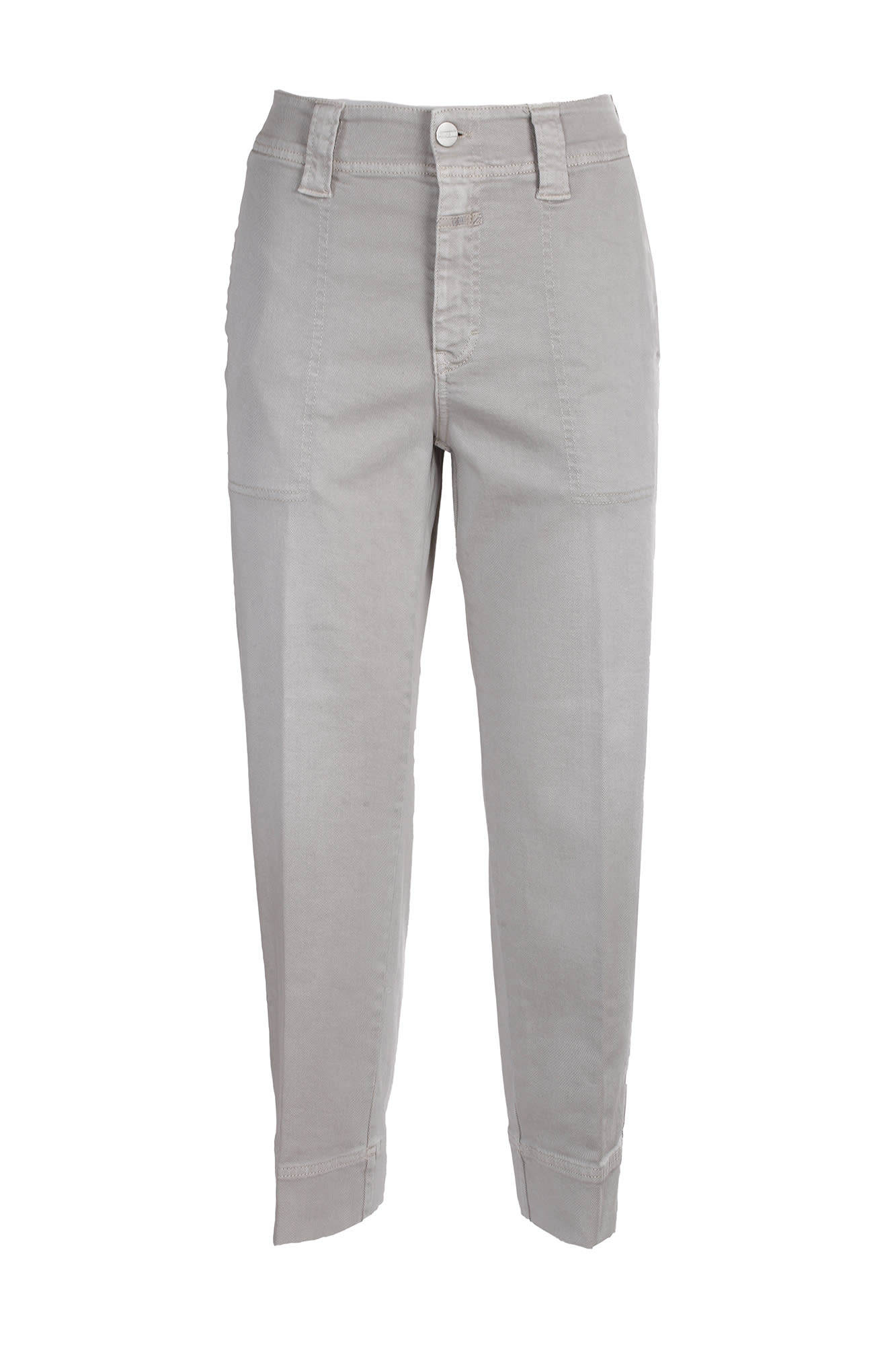 Closed cotton jeans. High waist