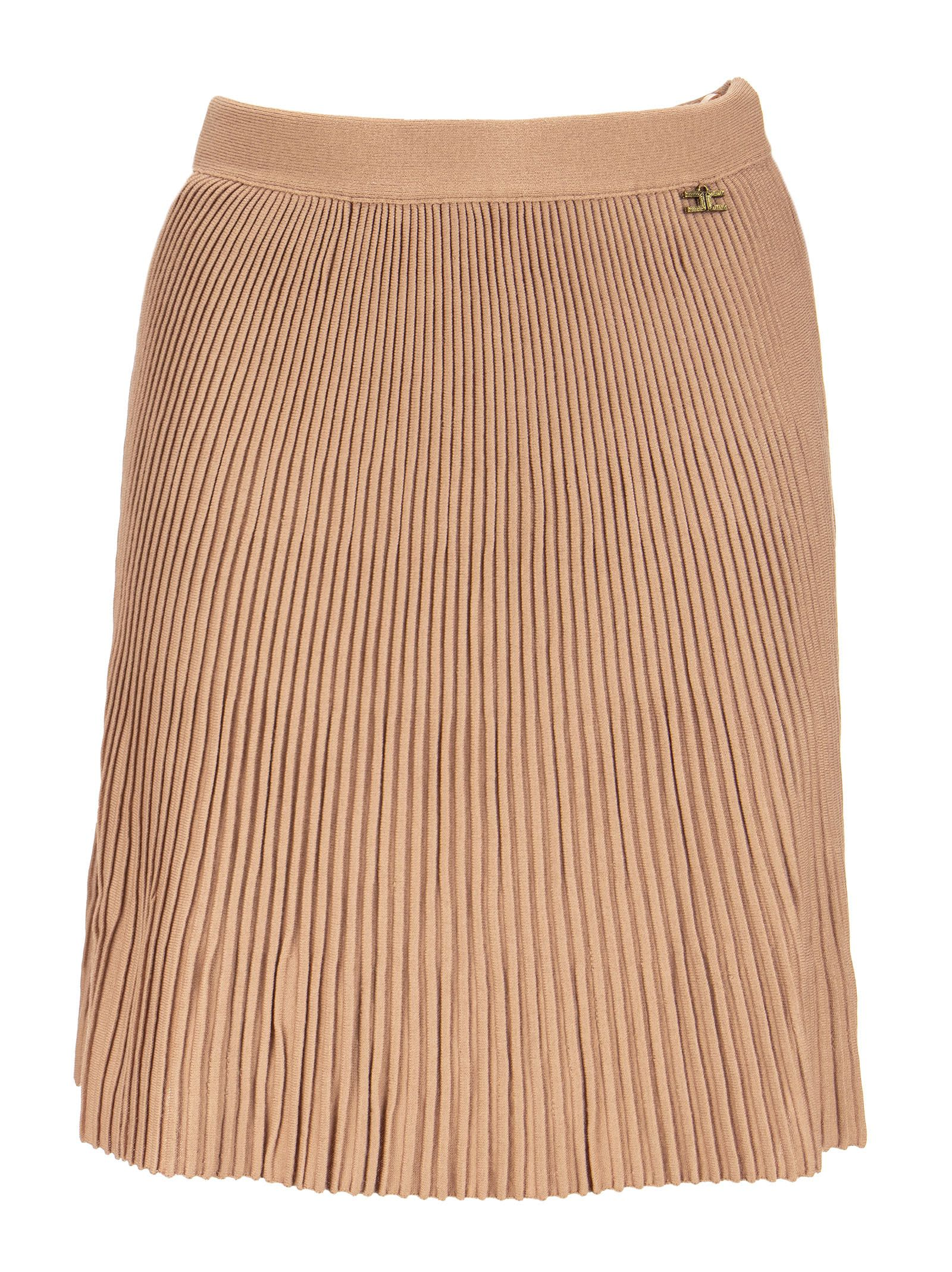 Elisabetta Franchi Pleated Knit Mini Skirt