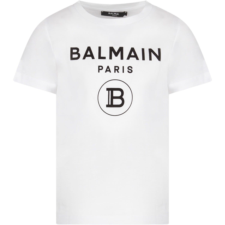 Balmain White Kids T-shirt With Black Logo