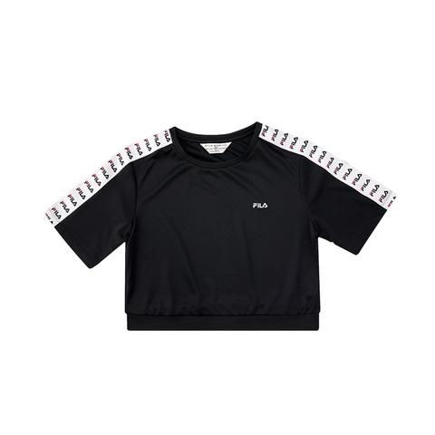 FILA 女吸濕排汗短袖圓領T恤-黑色 5TEV-1484-BK