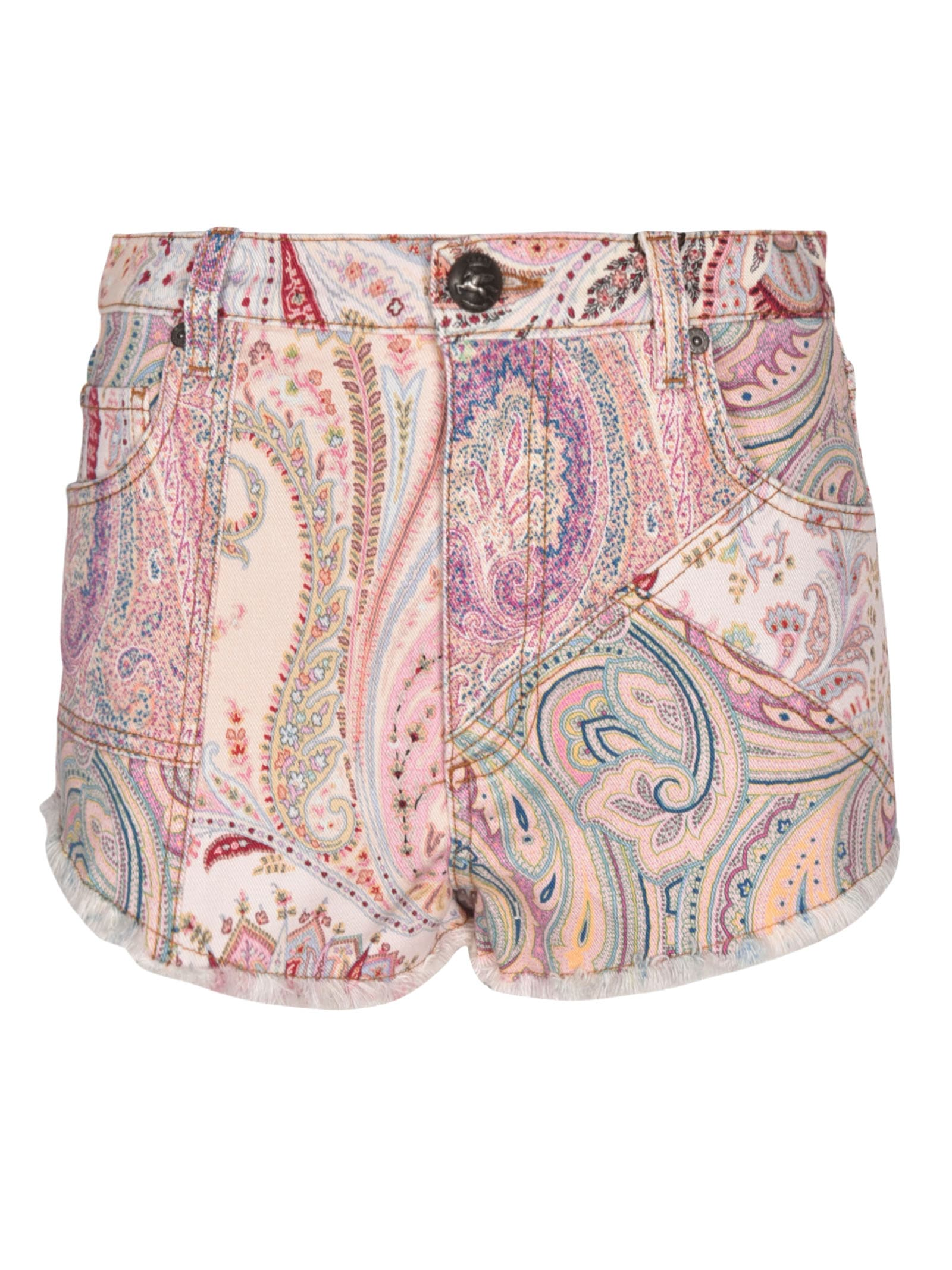 Etro Paisley Denim Shorts