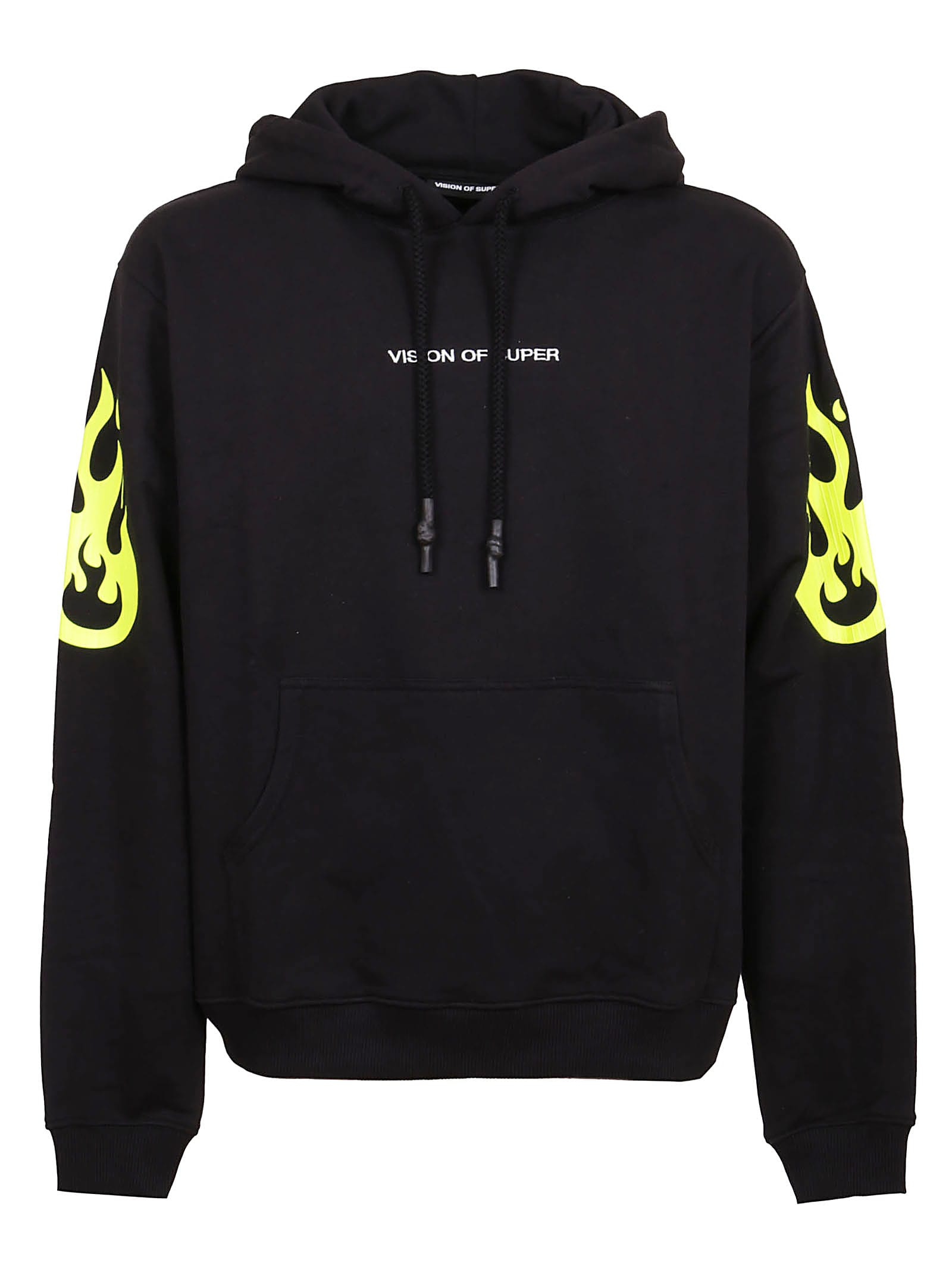 Vision of Super Black Hoodie With Yellow Fluo Flame