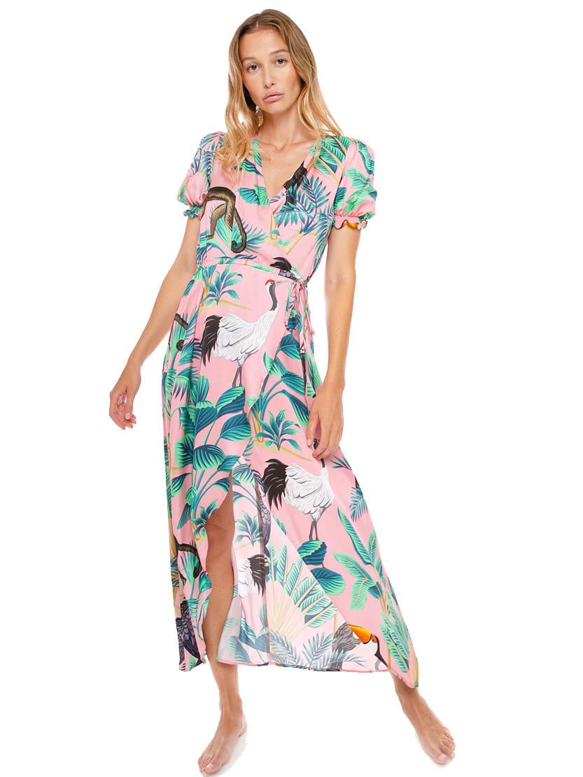 Pink Tropical Print Long Dress