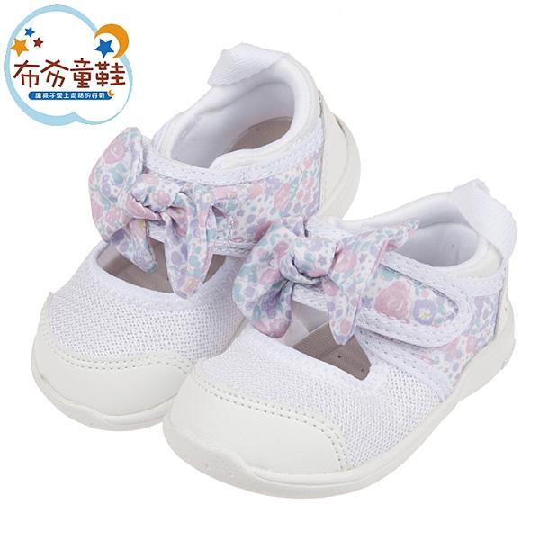 《布布童鞋》日本IFME白色和風花繪蝴蝶結寶寶機能水涼鞋(12~15公分) [ P1G502M ]