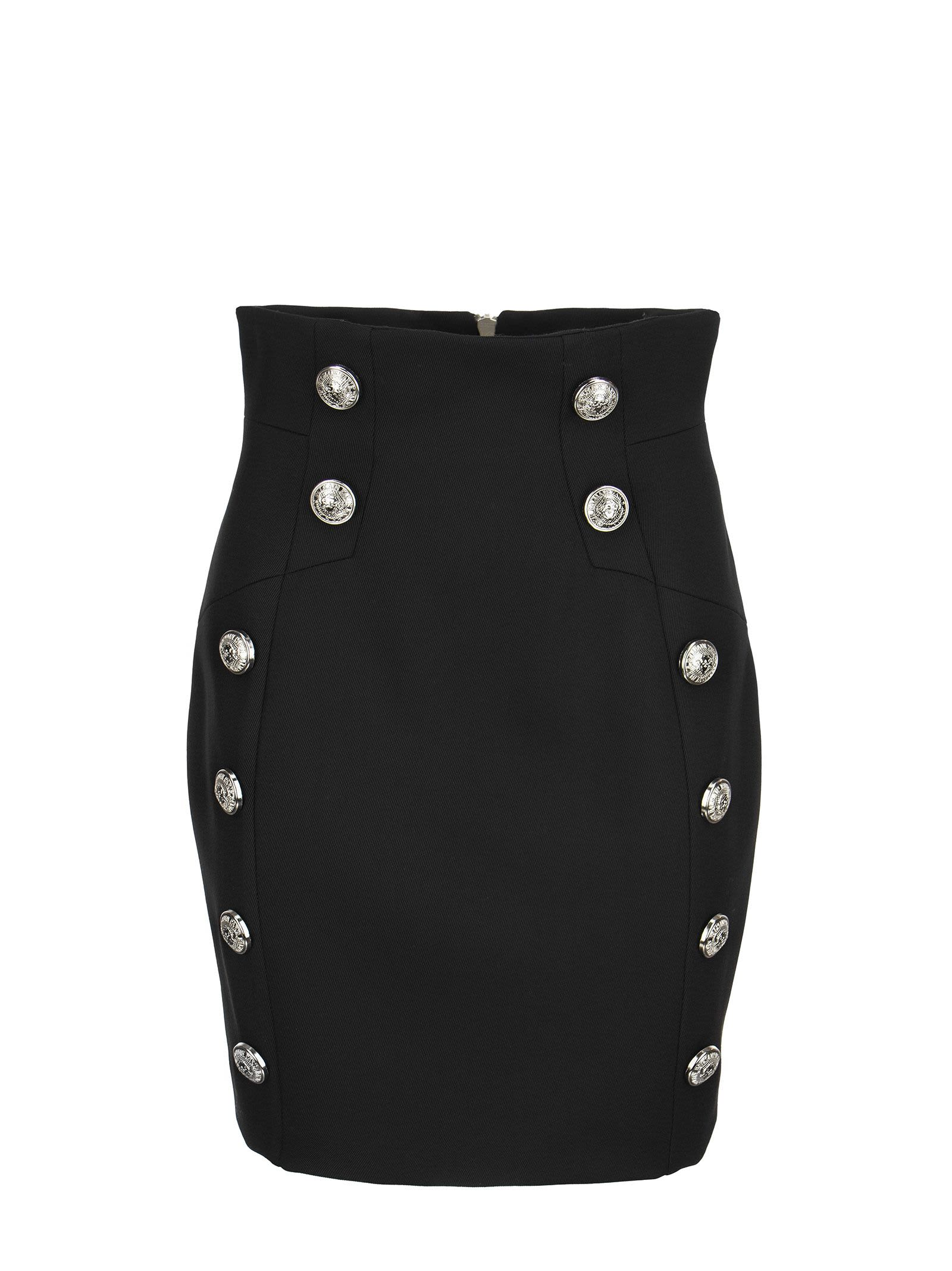 Balmain Short Black Skirt With Double Button