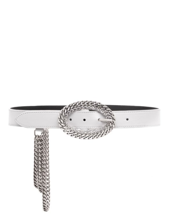 Alessandra Rich Leather Belt With Chain And Crystal Buckle