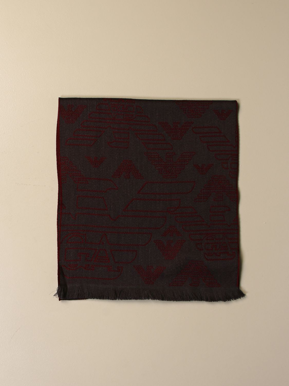 Emporio Armani Scarf Emporio Armani Wool Scarf With Jacquard Logo