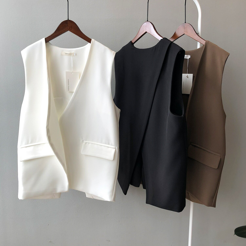 西裝馬甲女2021春季新款韓版V領無袖寬鬆背後開叉馬夾