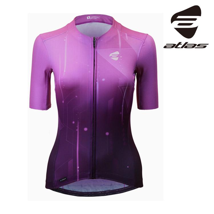 ATLAS 女冷黑多段循環短袖車衣 JCM-320-V【幾何紫】/30℃~38℃