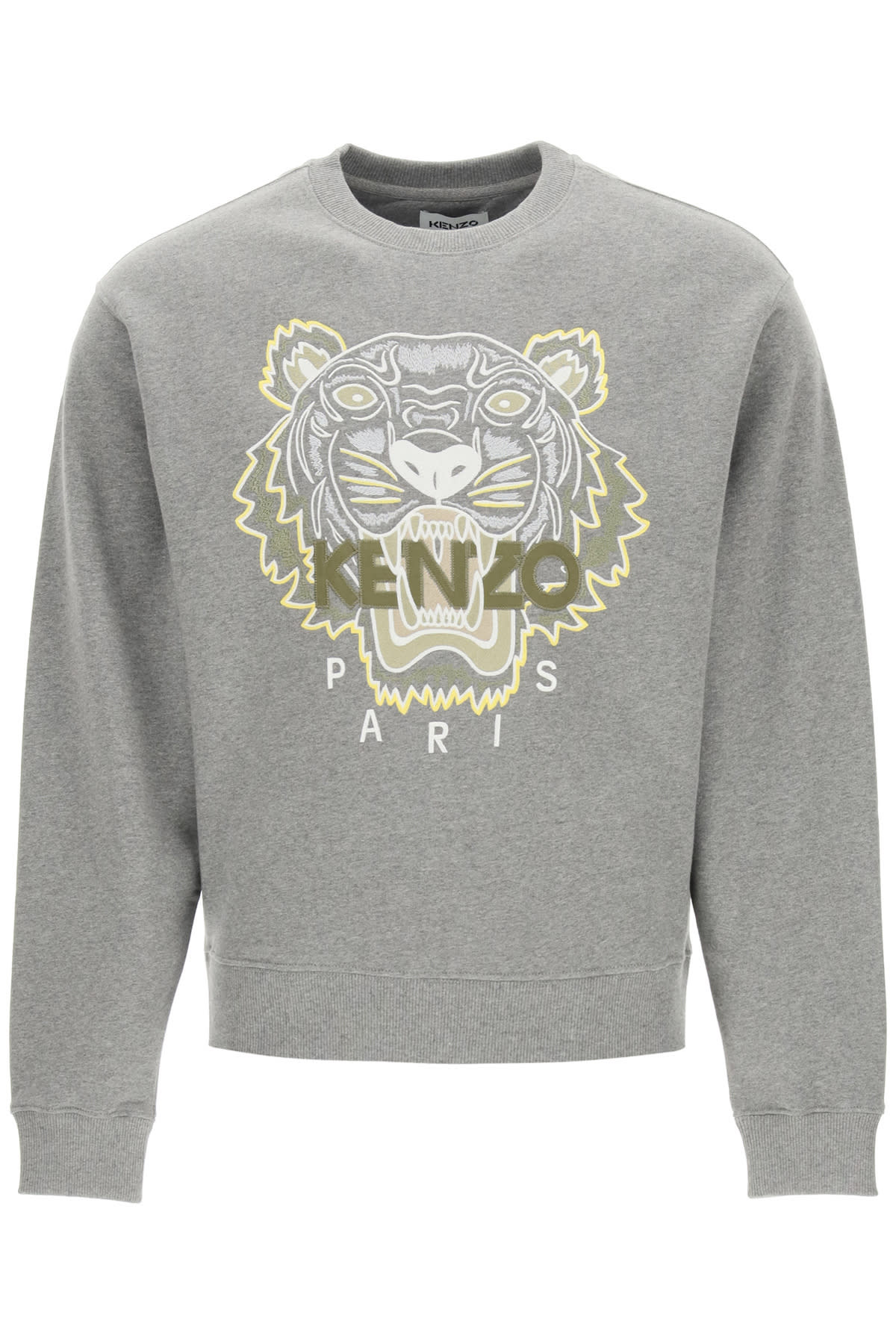 Crewneck Sweatshirt With Tiger Embroidery