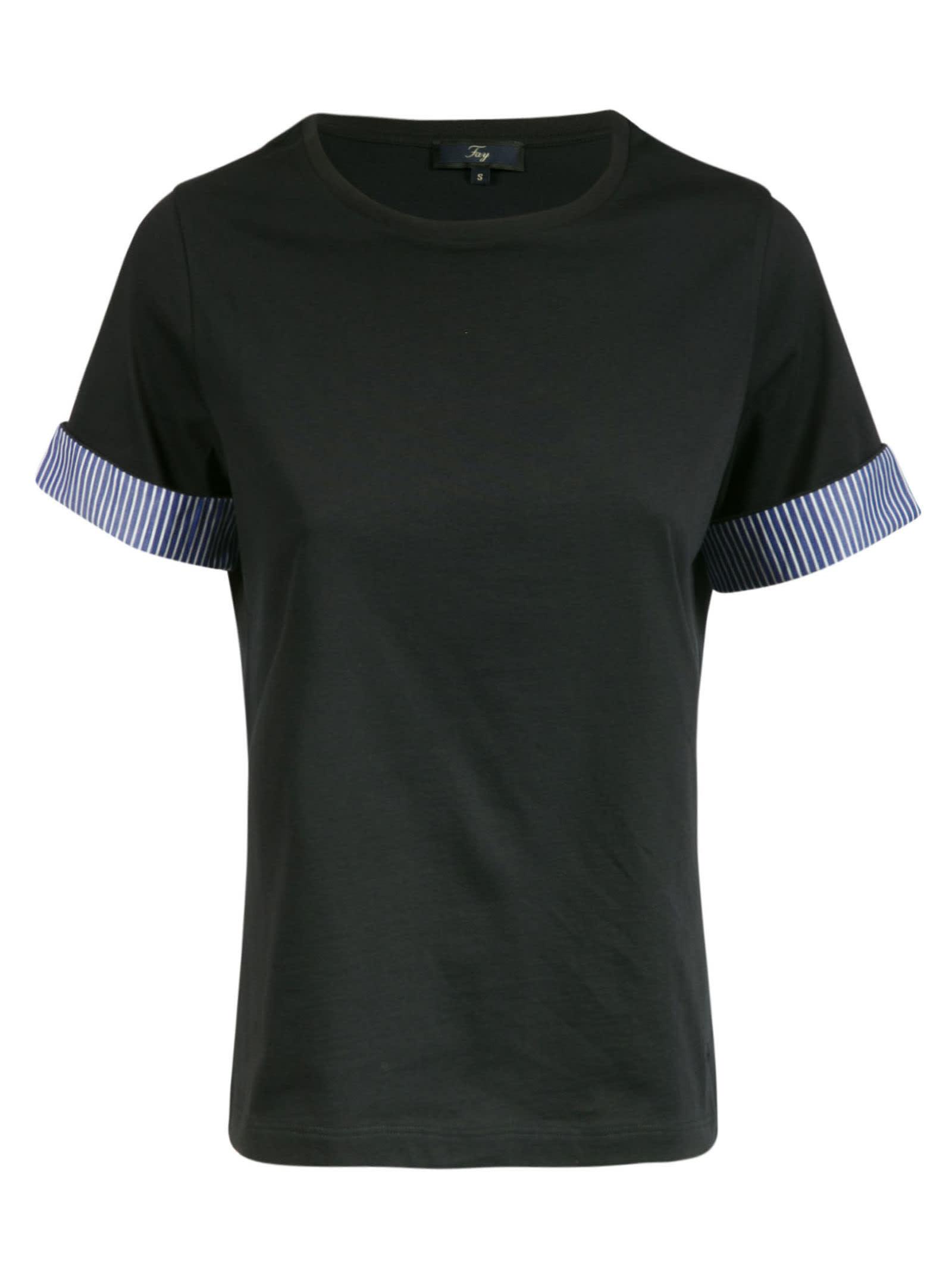 Fay Stripe Sleeve Detail T-shirt