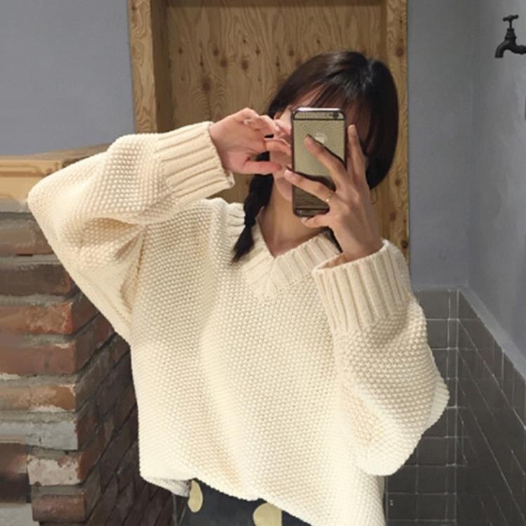 夯貨折扣! 針織上衣 慵懶風V領日系套頭毛衣女春秋2021新款韓版寬鬆外穿百搭針織上衣