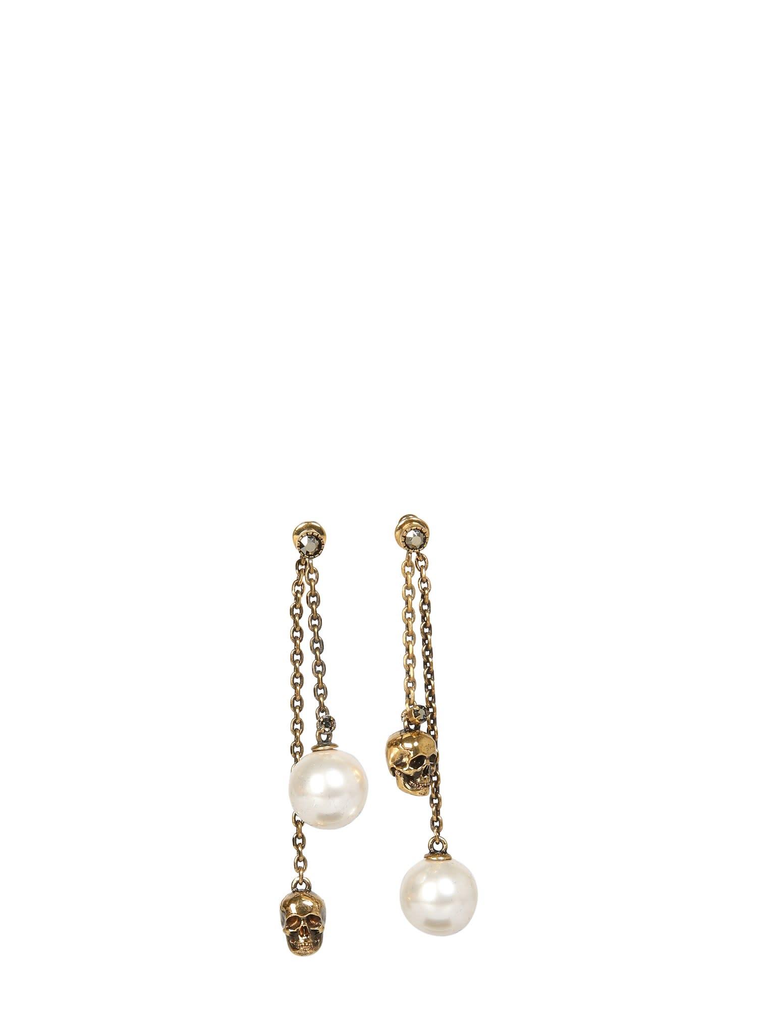 Alexander McQueen Skull And Pearl Pendant Earrings