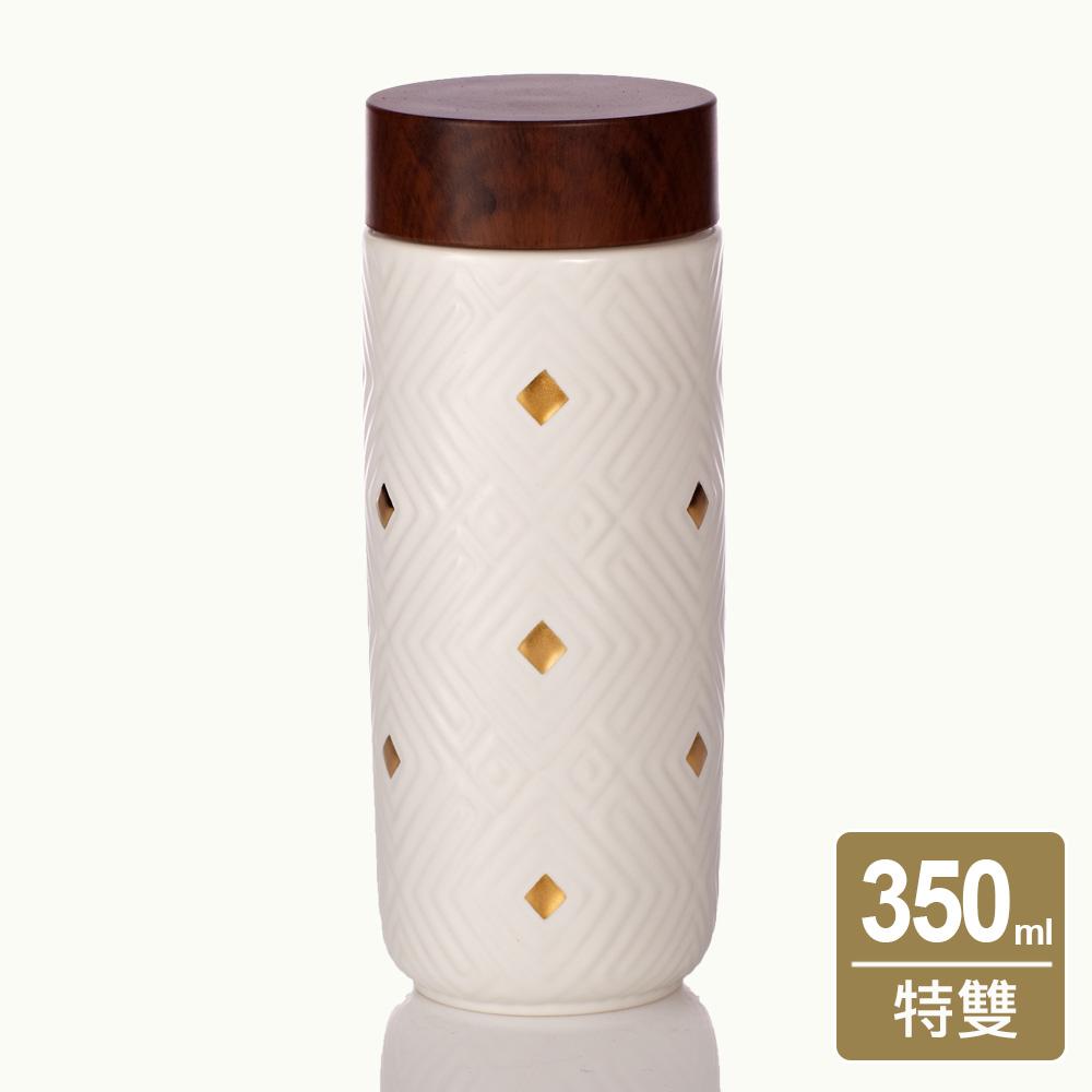 乾唐軒活瓷 | 奇蹟隨身杯 / 大 / 特雙 / 牙白金 / 仿木紋蓋