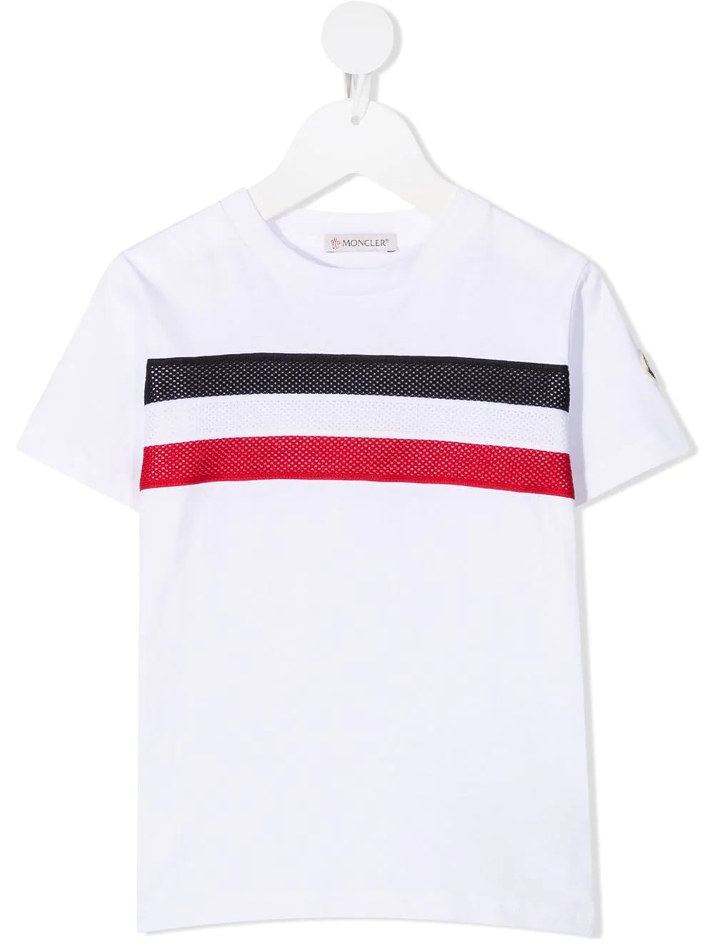 Kid White T-shirt With Tricolor Mesh Insert