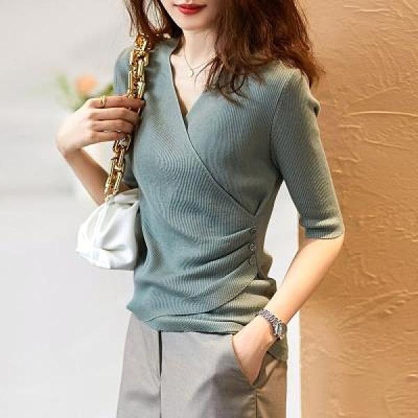 上衣 針織衫簡約百搭韓版春夏季女時尚優雅純色顯瘦V領五分袖針織打底衫A1190T19紅粉佳人