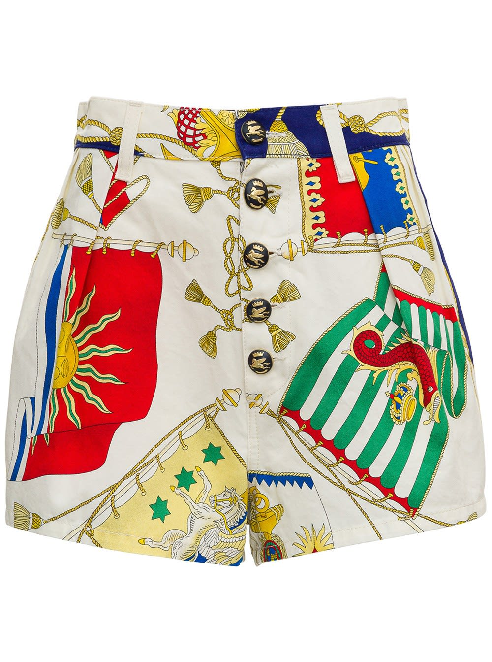 Cotton Shorts With Multicolor Print