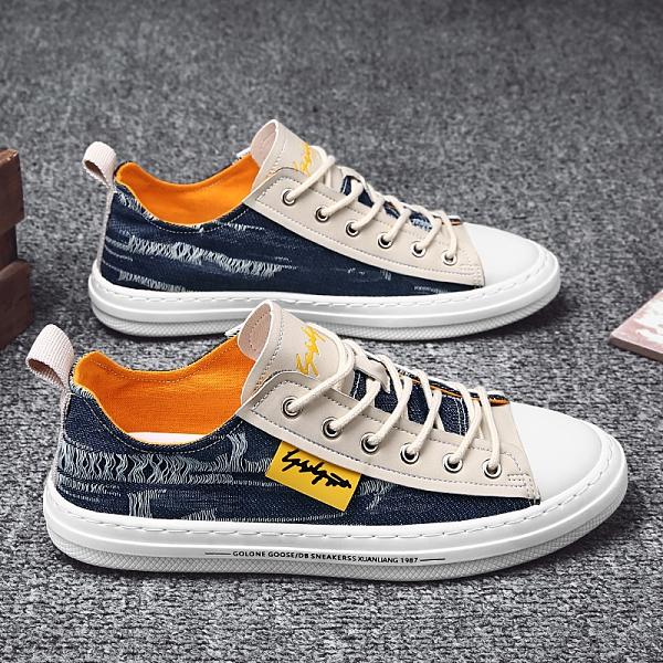 帆布男鞋春季2021年新款潮流百搭青少年網紅休閒板鞋運動潮鞋夏天 韓國時尚週