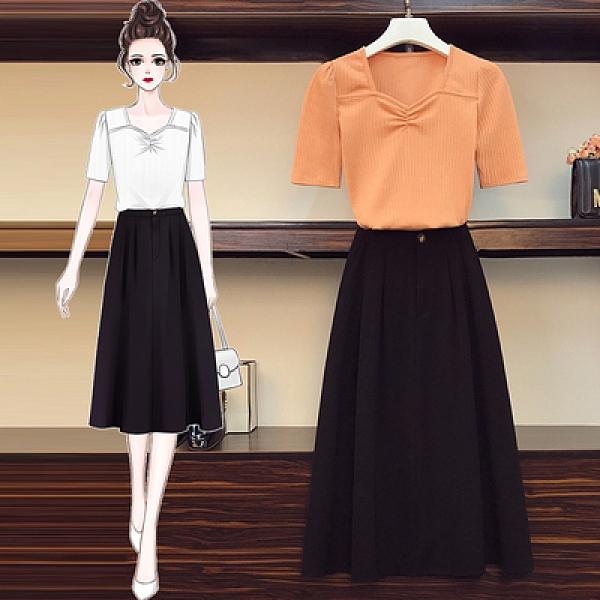 兩件套中大尺碼女裝L-4XL4357#夏季胖妹妹大碼時尚修身短款打底衫半身裙套裝MR04韓衣裳