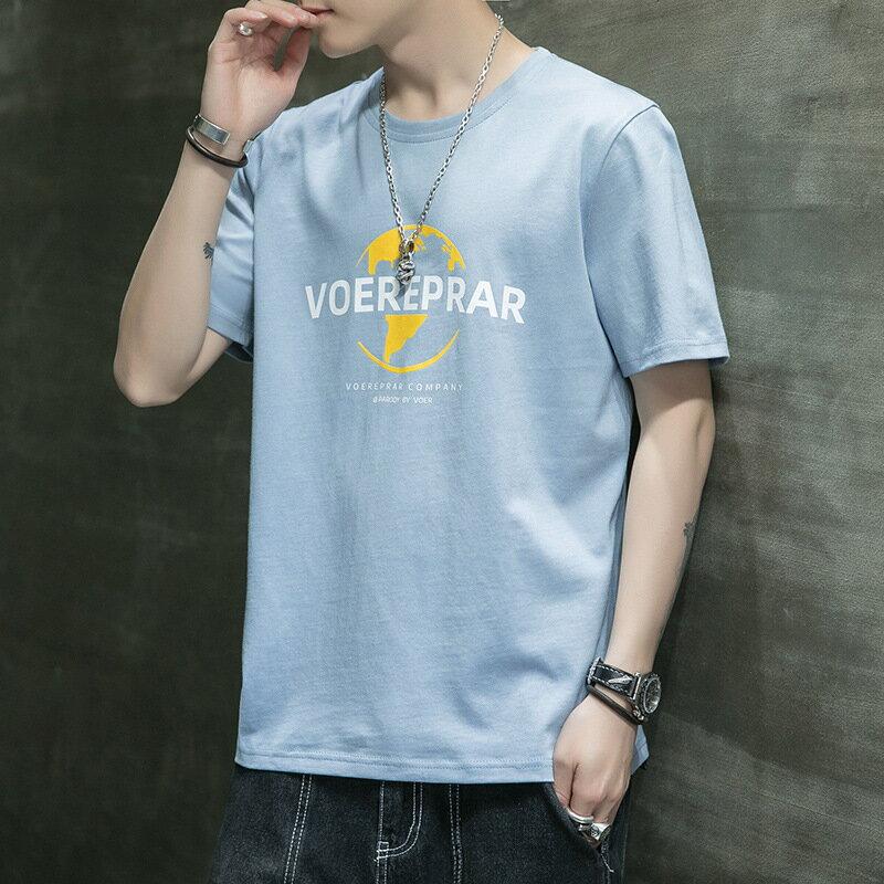 2021夏季新款短袖T恤男士韓版潮牌學生印花時尚打底衫短袖純棉T恤