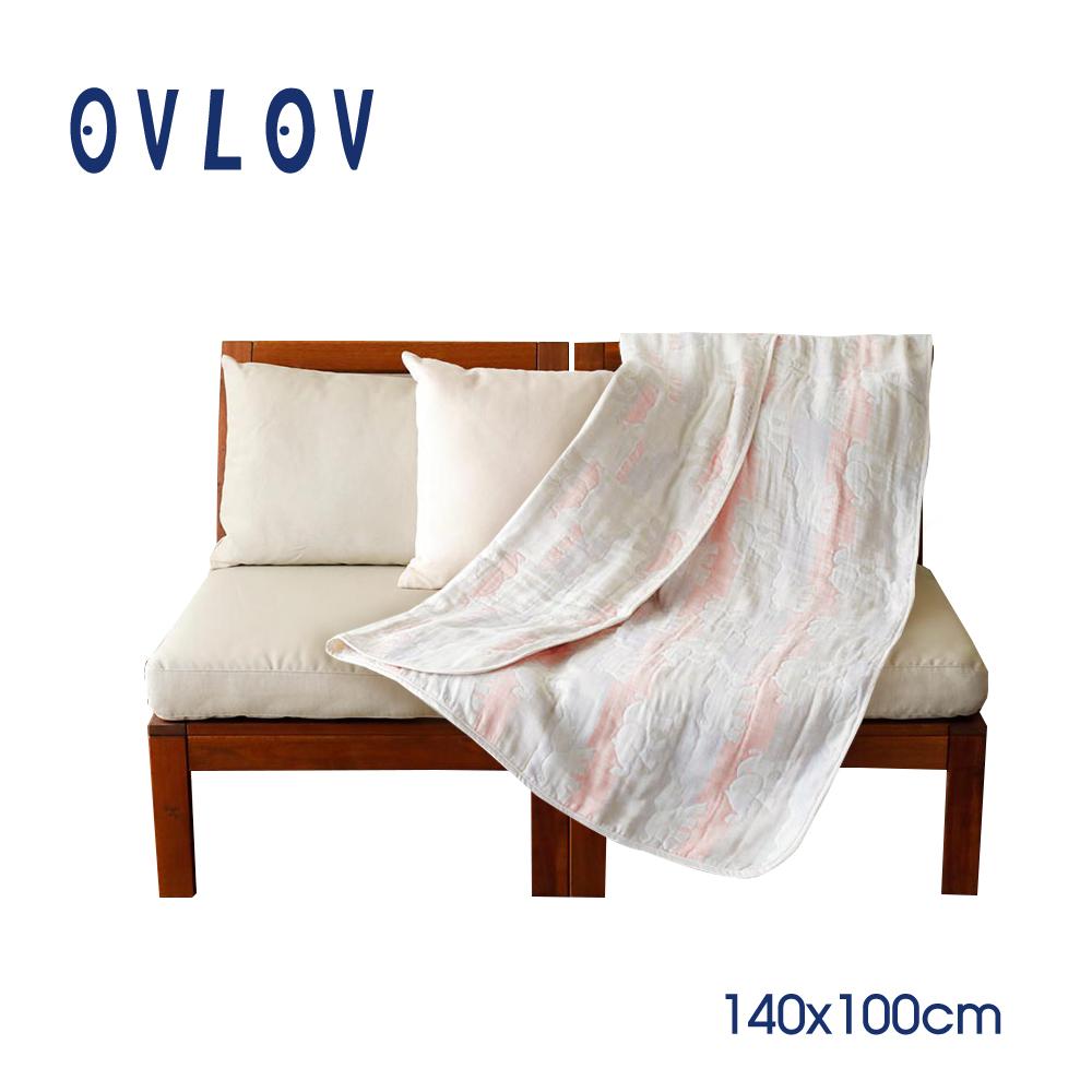 【結帳再9折】【彌月禮推薦】OVLOV 日本製六層紗單人童被-大象(粉) C-BKT-4023-PK-M