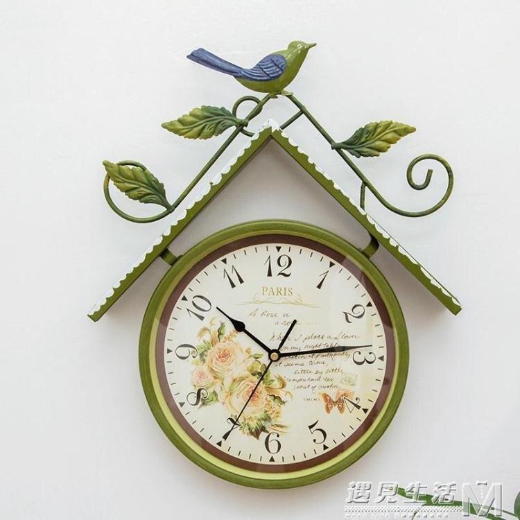 美式田園創意鳥屋掛錶 家用簡約中歐式客廳臥室走廊復古石英掛鐘