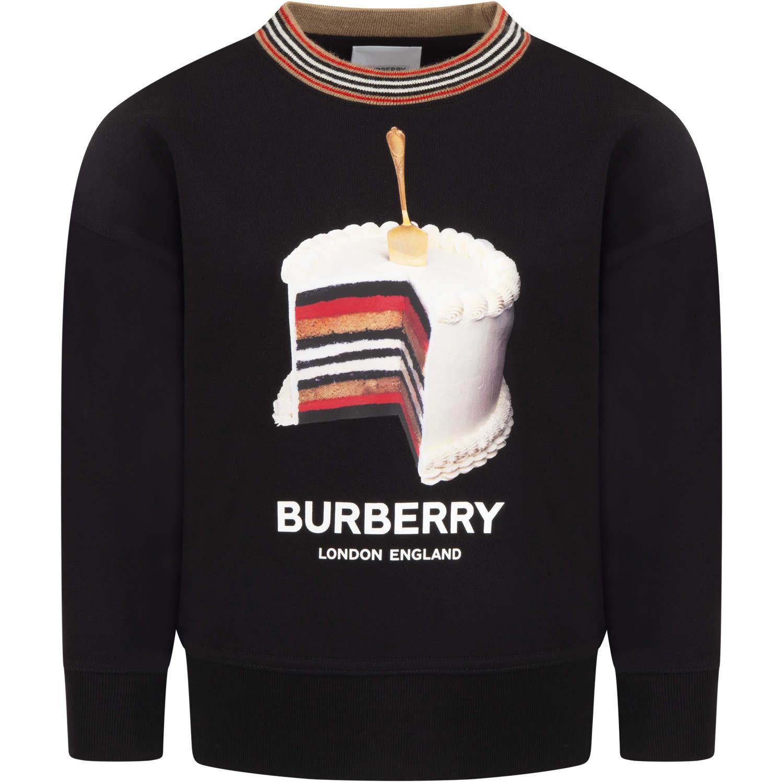 Burberry Black Sweatshirt For Kids With Logo