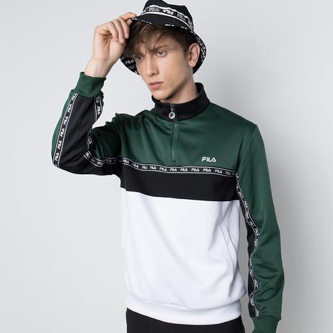 FILA 男半門襟T恤-深綠 1TEU-5484-GN