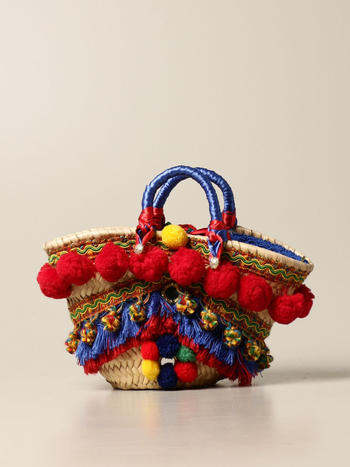 Sikuly Handbag Giummitta Sikuly Coffa Bag With Pompom And Tassels