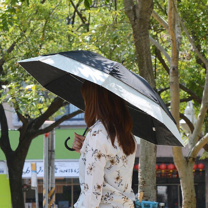 純色大傘面防風雙層抗UV一鍵速開伸縮自動傘-2色可選 米黑雙色