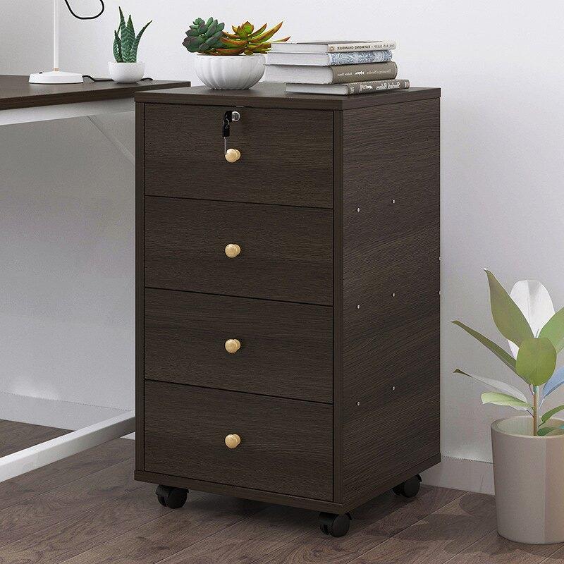 文件柜帶鎖抽屜柜多層滑輪移動儲物柜辦公室柜子木質資料柜檔案柜
