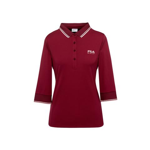 FILA GOLF 女七分袖POLO衫-紫紅 5POU-6012-WN