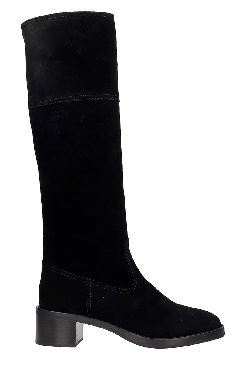 LAutre Chose Low Heels Boots In Black Suede
