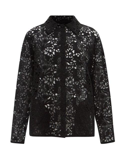 Valentino - Macramé-lace Shirt Jacket - Womens - Black