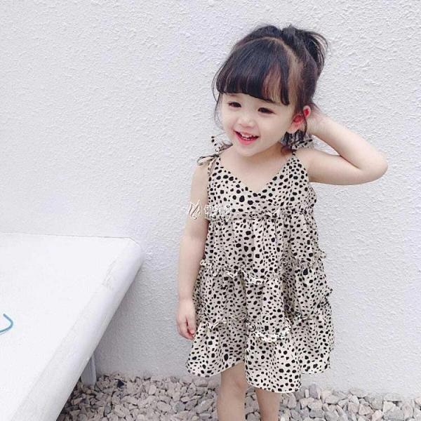 吊帶裙 小童裙子女童夏裝新款洋氣豹紋洋裝女寶寶薄款公主吊帶裙潮