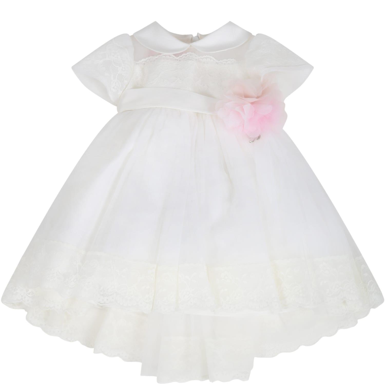 Blumarine White Dress For Babygirl With Flower