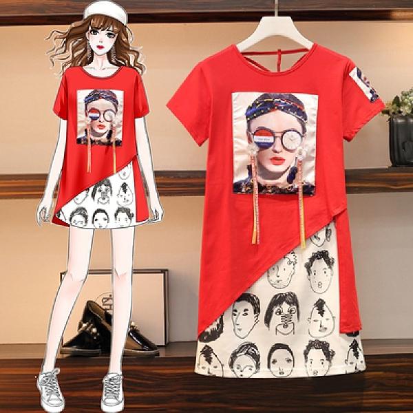 兩件套短袖套裝中大尺碼女裝L-4XL21020胖mm減齡不對稱短袖長T棉質半身裙套裝MR18A韓衣裳