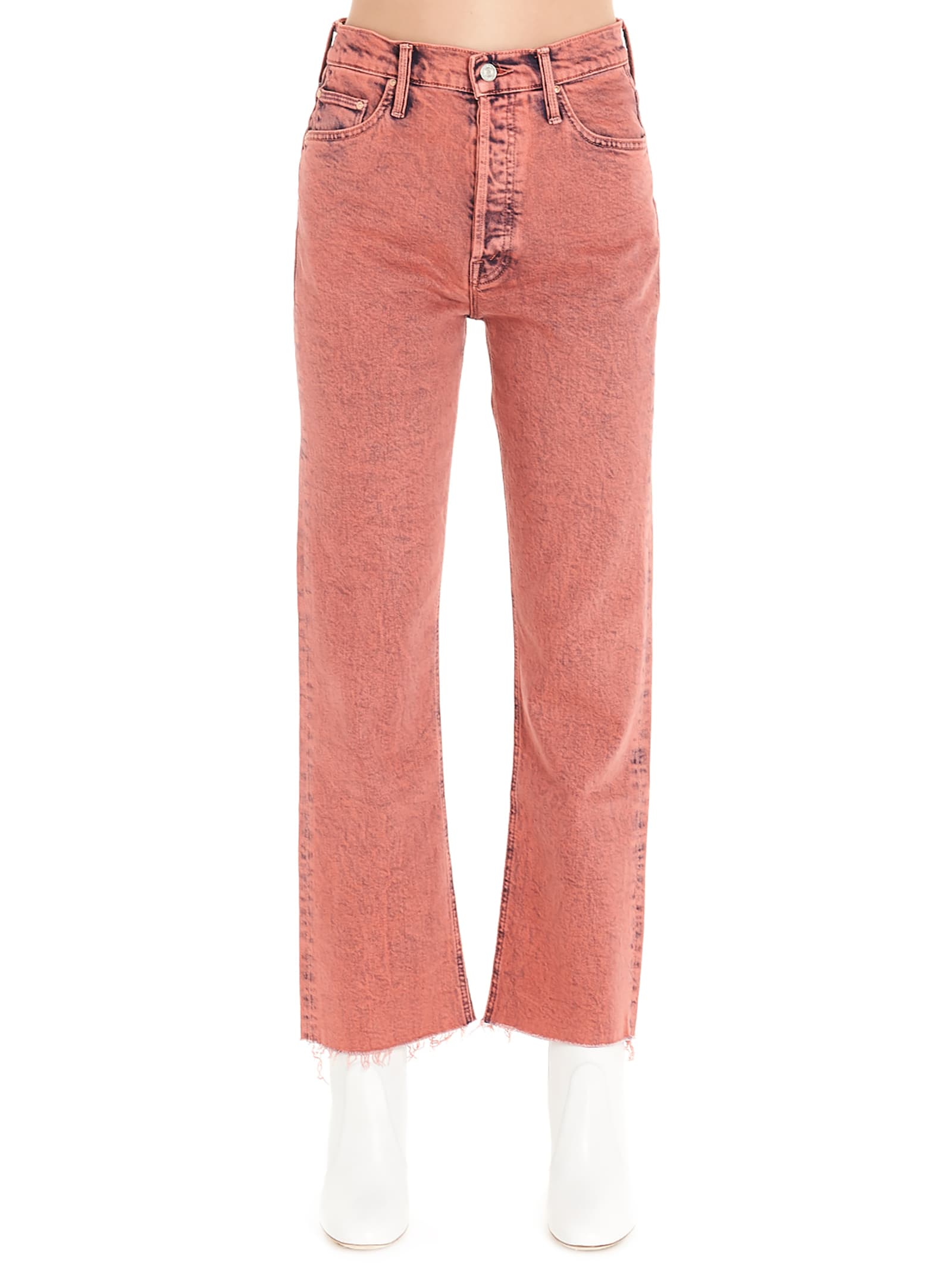 Mother tripped Crop Fray Jeans