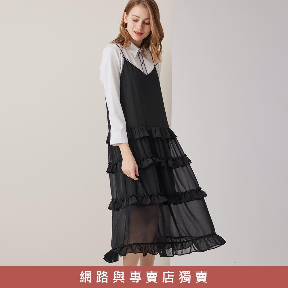 OUWEY歐薇 百搭V領吊帶荷葉連身蛋糕裙(黑)3212107501