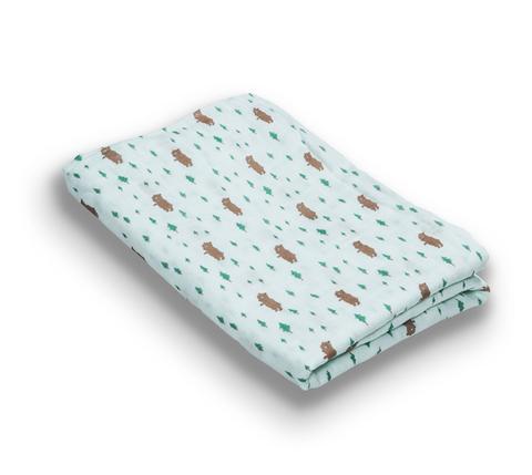 台灣 Organic B 有機比比 嬰兒有機棉紗包巾-小熊森林家
