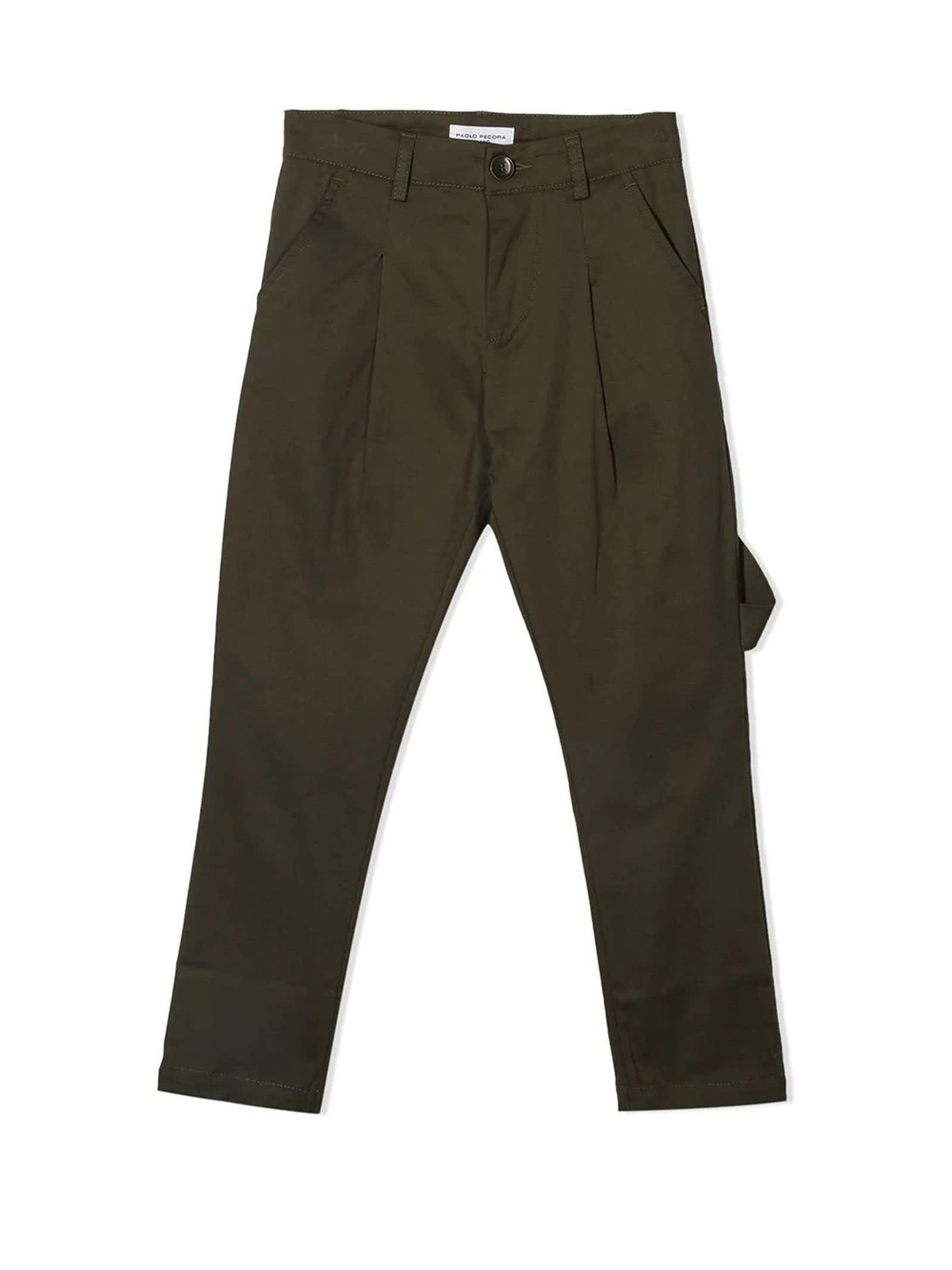 Paolo Pecora Green Cotton Trousers