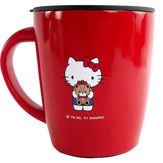 【領券折$30】小禮堂 Hello Kitty 單耳不鏽鋼杯 附蓋 保溫馬克杯 咖啡杯 保溫杯 380ml (紅 小熊)
