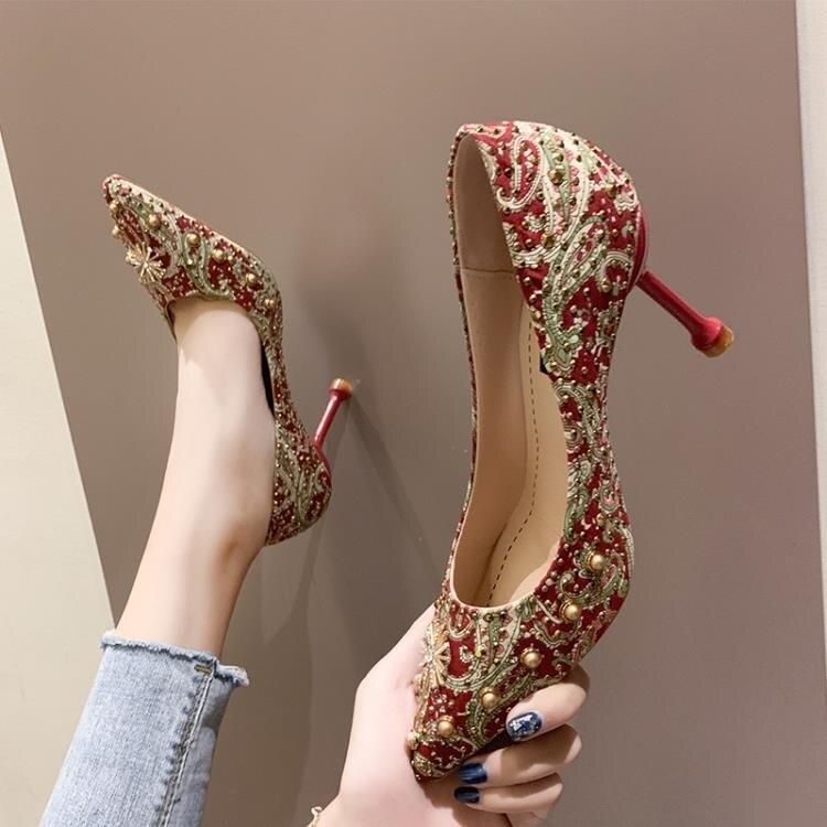 夯貨折扣! 高跟鞋 秀禾鞋婚鞋女新款紅色高跟鞋女細跟結婚秀禾服新娘鞋敬酒網紅