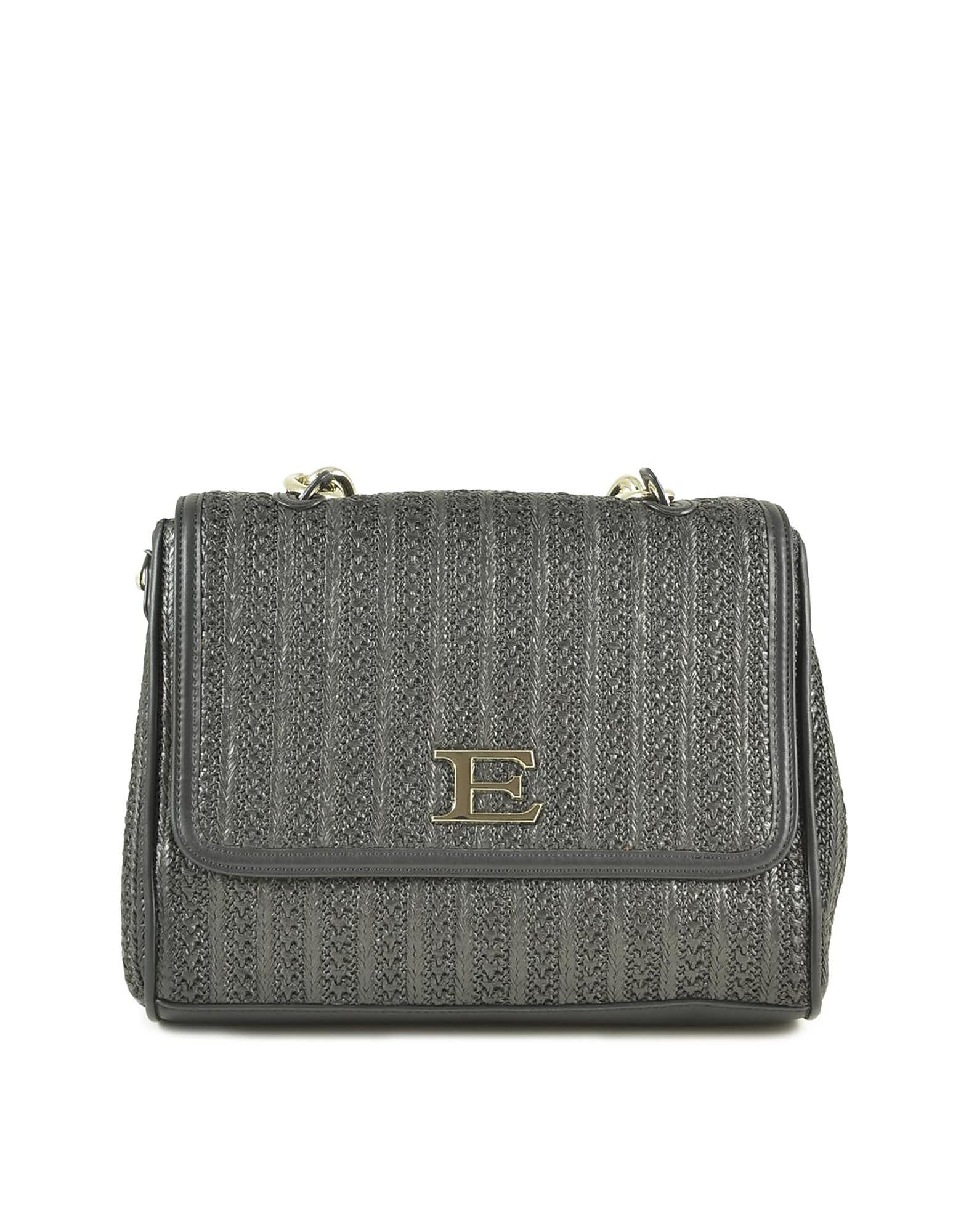 Ermanno Scervino Black Woven Fabric Gloria Small Flap Shoulder Bag