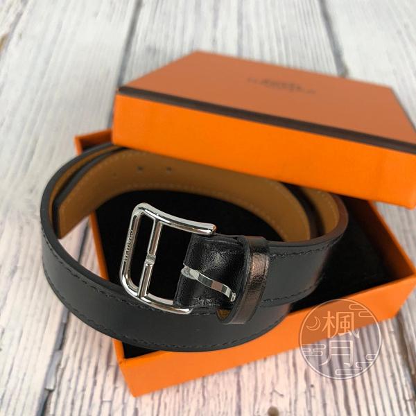 BRAND楓月 HERMES 愛馬仕 A刻 黑色ORLANDO 手環 經典 皮質 皮革 圓圈 飾品 配件
