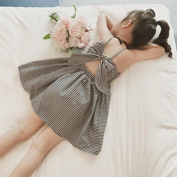 女童吊帶洋裝2021夏裝新款兒童洋氣韓版小童女寶寶露背公主裙子 幸福第一站
