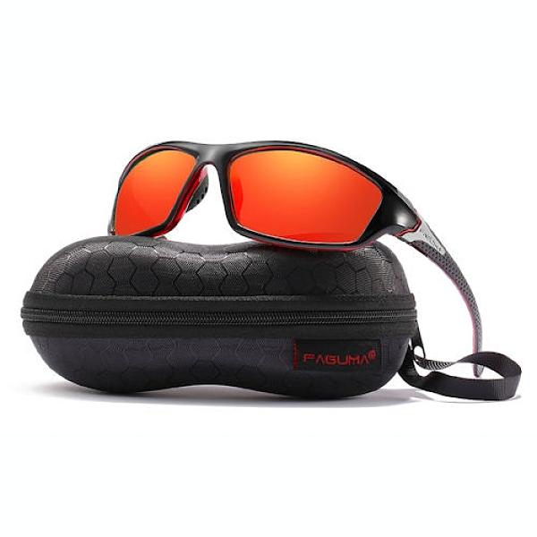 FAGUMA 男士防紫外線運動太陽鏡(黑色紅色鏡框/紅色鏡面鏡片)